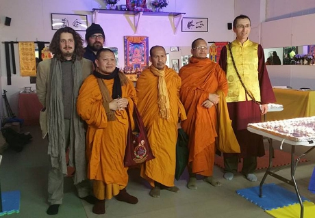 """Left to Right: Co-organisers of Cork s Buddhist walk, Conrad Frankel, Phramaha Rumpai Kaenkul, Abbot of Wat buddhamahadhatu Temple Michelstown, Phramaha Natthapol Noipha, Phramaha Narin Chamsamach, Vajra Achraya Douglas Sutton of the Esoteric Buddhist Temple Los Angeles & Cork, Back row Liam Kavanagh. A Buddhist Walk in the Tradition of Thích Nhất Hạnh will take place in Cork on Saturday 18th February starting at 11.30 am in the Coal Quay Market. People of all traditions, religions and faiths together with Buddhist Monks & Nuns will gather on Saturday morning and walk """" Mindfully"""" through the city of Cork. This event will take place on a monthly basis and is the first time this will happen in Ireland."""